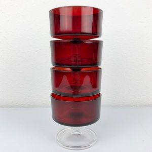 VINTAGE 4 France Luminarc Ruby Red Wine Glasses